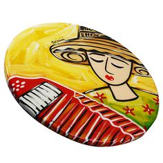 Tabla para queso pintada a mano. Lúcete al servir tus pasabocas con esta hermosa tabla para quesos pintada a mano. La encuentras en Bojanini #handmade #crafts #cheese  #homedeco http://www.elretirobogota.com/esp/?dt_portfolio=bojanini-art-gallery