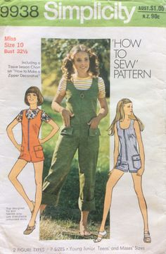 SOLD 1970s t-shirt top and overalls or playsuit Simplicity 9938 vintage sewing pattern Bust 32.5 Waist 25 Hip 34.5 Retro 70s style feature zipper by 101VintagePatterns on Etsy