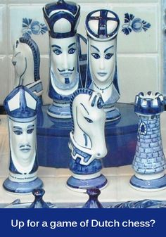 Chess set made of porcelain. The white and blue colouring is commonly identified with Delft, which became the biggest manufacturer in Europe during the golden age.   Find shops in South Holland which sell Delft Royal Blue porcelain and other Dutch souvenirs and gifts here https://www.angloinfo.com/south-holland/directory/south-holland-gifts-novelties-souvenirs-784