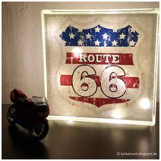 Lampe aus Glasbaustein mit Route 66 Design