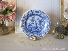 Delft Forest Fauna Dollhouse Plate by ALavenderDilly on Etsy