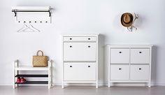 Hej bei IKEA Österreich White HEMNES anteroom furniture, u. HEMNES bench with shoe rack in white Hallway Furniture, White Furniture, Furniture Storage, Bench With Shoe Storage, Locker Storage, Hallway Storage, White Hallway, Ikea Hallway, Hallway Inspiration