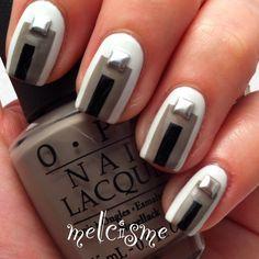 #colorblock #colorblocknails #blackandwhite #melcisme #nails #nailart