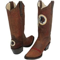 Washington Redskins Womens Flyover Pull-Up Cowboy Boots - Brown