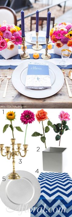 Recreate this beautiful table, as seen on Ruffled, with faux flowers and decorations from Afloral.com.  (1) Silk Sunflowers, Daisies, and Roses (2) Modern White Ceramic Cube Containers (3) Gold Candelabras (4) Chevron Table Runners (5) Metallic Plate Chargers