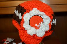 Girl's Cleveland Browns Earflap Hat  All by HotOffTheHookCrochet, $28.00