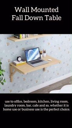 Folding Furniture, Space Saving Furniture, Furniture Decor, Furniture Design, Home Decor Hooks, Diy Crafts For Home Decor, Home Room Design, Home Office Design, Wall Mounted Folding Table