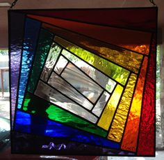 Stained Glass Panel - Colorful Geometric Storm. $65.00, via Etsy.