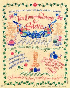 colorful archival print with lighthearted words for sisters. Ten Commandments for Sisters Thou shalt be there for each other--always. Sister Poems, Sister Friends, Sister Quotes, Family Quotes, Best Friends, Life Quotes, Sister Gifts, Qoutes, Quotes Quotes