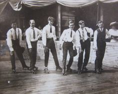 Vintage Photograph Victorian Men on Roller Skates Roller Derby Skating  Early 1900s Antique Picture Black & White Photo Antique Photograph