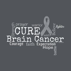 Cancer Awareness Brain Cancer Tumor Word Cloud Tshirt by TeamBeth