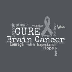 Cancer Awareness Brain Cancer Tumor Word Cloud Tshirt by TeamBeth