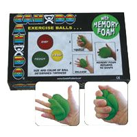 CanDo Memory Foam Hand Ball Exerciser: Cando Memory Foam Hand Ball Exerciser is perfect for early stages of hand therapy. Color coded pairs offer three different resistive levels.