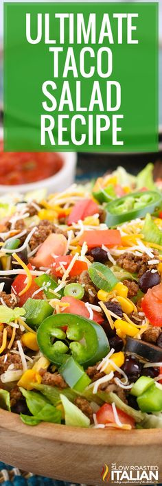 This taco salad recipe comes together in just 10 minutes with simple, fresh ingredients. Make it for a quick meal the whole family will enjoy. #TacoSalad #Mexican Taco Salad Bowls, Taco Salad Recipes, Salad Dressing Recipes, Soup And Salad, Beef Recipes, Cooking Recipes, What's Cooking, Salad Dressings, Fruit Salad