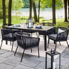 Standish 7pc Strap Dining Set - Threshold™. Image 1 of 2.