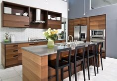 Furniture. blackpolished wooden armless bar stool with square backrest combined with plywood veneer island using gray granite eased edge profile top. The Best Image Of Stools For Kitchen Island