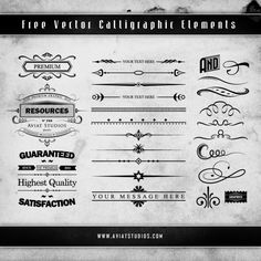 Grunge calligraphic decorative elements