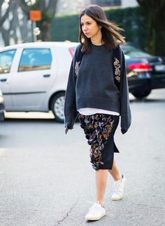 Be your own work of art with a mixed-media piece like this embellished skirt.