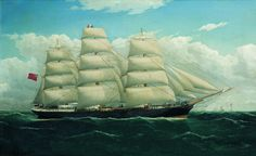 SS Dunedin by Frederick Tudgay - Port Chalmers - Dunedin, the first commercially successful refrigerated ship. Tall Ships, Sailing Ships, New Zealand, Sheep, The Past, Artwork, Ss, Yachts, Masters