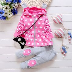 2016 New girls casual cotton hooded jacket   pants two suits baby