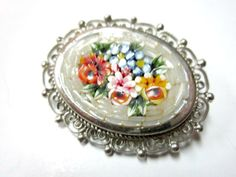 Vintage Micro Mosaic Colorful Flower Brooch Pin by SoBejeweled, $25.00