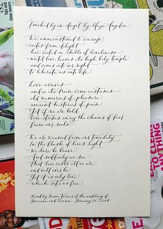 on the desk this week : calligraphy transcription
