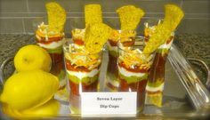 Individual layer dips - great for a  Mexican themed party   what a great idea!!