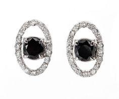 Diamond Earrings 0.45 carats Fancy Black Diamond by Sevencaratshop, $600.00
