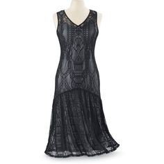Black Lace Tea Dress Size 3X ($90) ❤ liked on Polyvore featuring dresses, plus size, v neck lace dress, long dresses, long lace dress, 1920s long dresses and lace dress