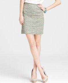 Tweed Exposed Zip Skirt