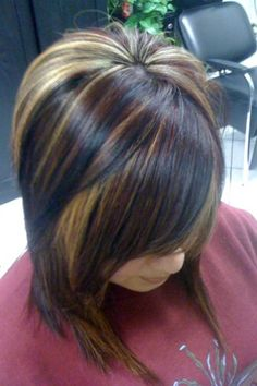 Haircut color golden blond with dark brown highlights and low lights