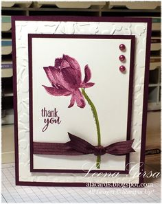 Stampin' Up! ... handmade card from A La Cards ... dark purple and white ... embossing folder texture on wide mat layer at the bottom ... three step water lily ... great ribbon wrap with knot right on top of the stem ...