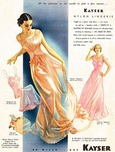 """Lingerie """"All the glamour in the world in just a few ounces."""" is really truth in advertising! Just look at this 1950 Kayser Vintage Nightgown, Vintage Dresses, Vintage Outfits, Vintage Fashion, Vintage Fur, Vintage Beauty, Lingerie Retro, Do It Yourself Fashion, Vintage Underwear"""