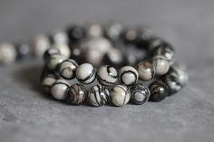 Zebra Jasper, Black and White, Grey, 8mm, Round, Polished, Beads, Earthy, Full Strand, Full Strand, 14 inch, wholesale, supplies by StoneCreekSurplus on Etsy