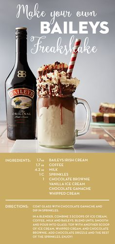 This Baileys Freakshake proves you really can have your dessert and drink it too. Vanilla ice cream and Baileys are whipped to perfection and poured into a cold glass with chocolate ganache. The generous toppings make it a super freakshake with chocolate, more ice cream, sprinkles, brownies, and as many other treats as you'd like. This is an even more delicious alternative to a mudslide this summer—so if you're inviting guests over for cocktails, it's the perfect time to try making your own!