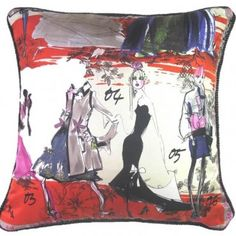 Lacroix Fashion Sketch Pillow by Tracy Smith NY