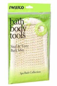 Swissco Sisal Bath Mitt With Terry by Swissco. $5.95. Mitt fits comfortably and massages those tired muscles while getting the dirt out.. Let Scrub Mitt lend a hand to bath time.. Scrubbing sisal on one side, soft terry cotton on the other.Our Sisal Mitt is backed by our Lifetime GuaranteeOne side is soft terry to clean sensitive areas.The other side is sisal for exfoliating dry skin & stimulating blood flow.Use with soap or shower gel.More durable, higher quality th...