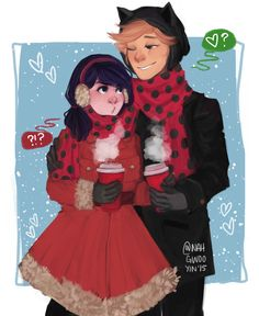 solarneighbourhood:  imagine post-reveal winter adrinetteadrien ruining the moment with his puns and marinette scolding him