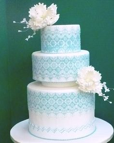 A blue and white wedding cake