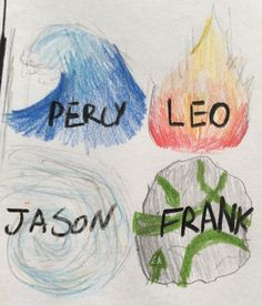 Percy, Jason, Leo and Frank as the 4 elements.