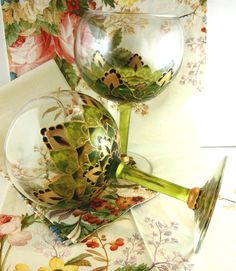Nature Green and Gold Leaves  Hand painted  Wine by ElvenBells, $26.99