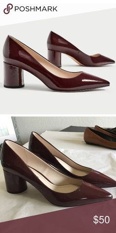221f54619e8 ✨ZARA✨Burgundy Patent Block Heels ZARA Patent Block Pumps Patent leather  pumps with a circle block mid heel Color  Burgundy Euro size 39   US size  8.5 ...