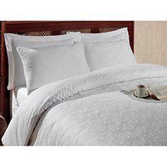 Eponj Home Ep-004751 Sicilya Jakarlı Pamuk Saten Çift Kişilik Nevresim Takımı - Beyaz