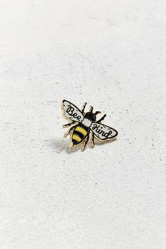 Slide View: 1: Beholder Bee Kind Pin Bee Jewelry, Space Jewelry, Hamsa Jewelry, Jewelry Necklaces, Jewelry Accessories, Enamels, Bee Brooch, Cute Patches, Pin And Patches