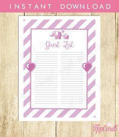 Instant Download Elephant Guest List Printable Lilac Elephant Baby Shower Guest Sign In Sheet Lavender Elephant Birthday Guest Sign-In by TppCardS #tppcards