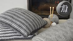 Handmade knitted pillow gray and dark gray