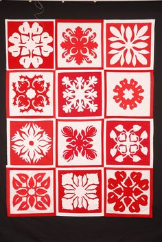 Red and white Hawaiian quilt. Love the anthurium block variations, protea, breadfruit, and other patterns. Hawaiian Quilt Patterns, Hawaiian Pattern, Hawaiian Quilts, Hawaiian Leis, Patch Quilt, Applique Quilts, Quilting Projects, Quilting Designs, Snowflake Quilt