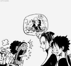 Luffy Zoro Usopp Robin, I just LOVE how Zoro is already stretching to carry luffy XD