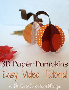 3D paper pumpkins.  Easy video tutorial #fall #tutorial #pumpkin #paper #craft www.creativeramblingsblog.com
