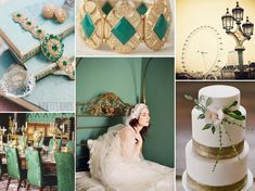 green and gold wedding - Google Search